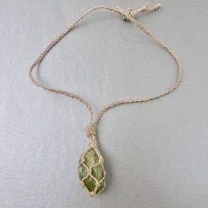 Jewelry - Natural Aventurine Stone Macrame Necklace Polished